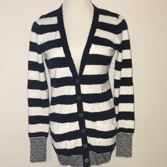 Pink by Victoria's Secret sweater Navy and white striped long cardigan. Great with skinny jeans and boots. EUC. Size medium. 100% cotton. PINK Victoria's Secret Sweaters Cardigans