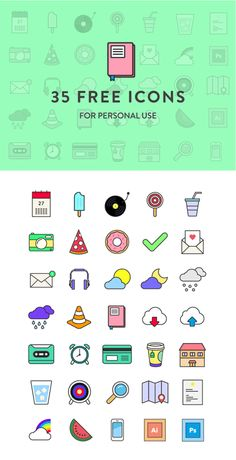 35 Free Colorful Icons