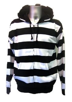Mens Striper Hoody White.  The classic black and white combination.... 80% cotton & 20% polyester. Soft fleece like inside. Black lined hood. Front zip fastening. Elasticated cuffs and hem. Available in 4 sizes from S-XL.  Casual and cool, this hoody will be worn constantly!