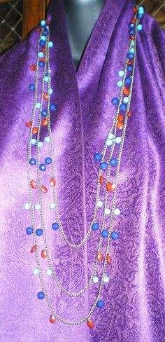 Colorful Beaded 3 Strand Chain Necklace and Earrings set by NatureAngels, $32.00