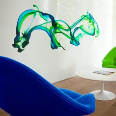 Amazing self-adhesive install!  Fab.com | Swirling Dyes 108x55 Green Blue
