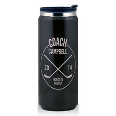 Stainless Steel Travel Mug Personalized Hockey Coach Circle Youth Hockey, Hockey Mom, Hockey Teams, Ice Hockey, Funny Hockey, Hockey Stuff, Hockey Crafts, Hockey Decor, Coach Gifts