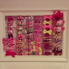 Hair clip storage for my little girl..I desperately need this for all of the accessories we have that gabbi won't wear    :(