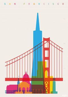 """""""Shapes of San Francisco"""" Graphics/Illustration art prints and posters by Yoni Alter Illustration Inspiration, City Illustration, San Francisco Art, San Francisco Skyline, Graphisches Design, Scale Art, Photo Vintage, Design Poster, Vintage Travel Posters"""