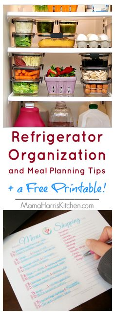 Refrigerator Organization and Meal Planning Tips (FREE Printable!) #OrganizeWithBrilliance AD   Mama Harris' Kitchen