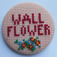 SALE Oversized cross stitch Wall Flower badge by MaMagasin on Etsy, £6.00