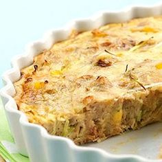 Recipes+ shows you how to make this tuna corn and onion quiche recipe Tuna Recipes, Quiche Recipes, Cooking Recipes, Cooking Ideas, Seafood Recipes, Healthy Recipes, Tuna Quiche, Tuna Pie, Frittata