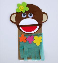 Luau Crafts for Kids! Make a Hula Monkey Puppet!