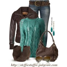 """Teal Green & Dark Brown"" by steffiestaffie on Polyvore"