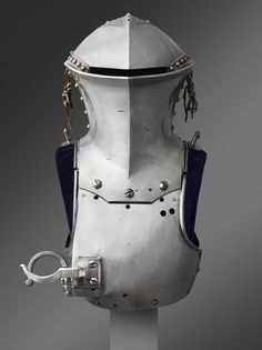 """Portions of an Armor of Maximilian I of Austria, for use in the German joust of peace (Gestech),"" c. 1494. Armor made by Lorenz Helmschmid, German (active Augsburg)."