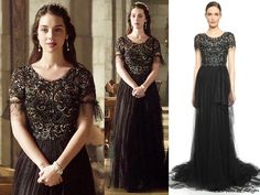 """In the episode 3x07 (""""The Hound and the Hare"""") Queen Mary wears this sold out Marchesa Beaded Tulle Gown with the polka dot tulle sleeve detail added by the costume department."""