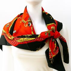 Authentic Hermes Silk Scarf La Cle Des Champs Red and Black Fireworks Jacquard w/BOX