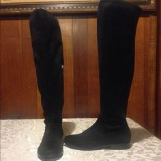 BLACK FRIDAY SALE-ENDS 11/29. CKlein Rae Boots Gorgeous vegan suede upper boots from Calvin Klein. Style name is Rae. These boots go over the knee. They are pull on style with a zipper covering about one half of the shaft. 18 inch shaft height and 15 inch calf circumference. There is some stretch on these so perfect for those with slightly bigger calves! Only worn once! Shoe size 5M. Calvin Klein Shoes Over the Knee Boots