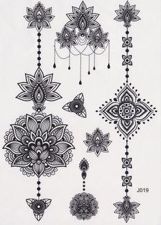 Temporary Tattoo, Mandala Tattoo, Lotus Tattoo, Feminine Tribal Aztec Black and White Maori Flower Vintage Traditional Kylie Jenner
