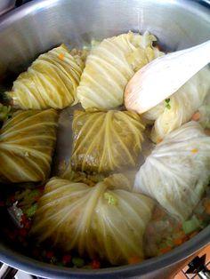Stuffed cabbage leaves stewed with tomato and lentils, foglie di verza ripiene e cotte con pomodoro e lenticchie.