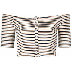 Cream And Tan  Stripe Off The Shoulder Crop Top ($22) ❤ liked on Polyvore featuring tops, crop tops, shirts, t-shirts, wendy gelman, cream, white short sleeve top, striped crop top, short sleeve tops and crop top