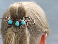 Boho Hair Clip Beaded Turquoise Red Flower by CopperStreetStudios