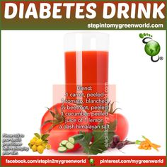☛ BY EXTREMELY HIGH DEMAND A DRINK FOR DIABETICS: As a general rule: Avoid FRUIT juices and smoothies. Juices contain large amounts of glucose and can cause a spike in blood sugar levels. Opt for vegetable juices low in sugar content. FOR ALL THE RECIPE DETAILS AND A CHART ON FRUITS AND SUGAR CONTENT: http://www.stepintomygreenworld.com/healthyliving/diabetes-drink/ ✒ Share | Like | Re-pin | Comment