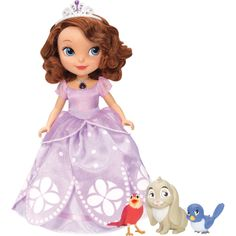 Sofia the First Talking Sofia and Animal Friends (Mattel), ages 3 and up. Dressed in her signature princess gown, the 10.5-inch doll can talk to Clover the Rabbit, Robin the Robin and Mia the Bluebird. When kids bring each animal close to Sofia's amulet, it glows and Sofia can recognize and talk to each friend and get unique responses in return. ($39.99; target.com)