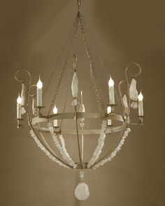 Low Country Originals Champaine Mist Chandelier w Scroll Arms and Rock Crystal 6-Light