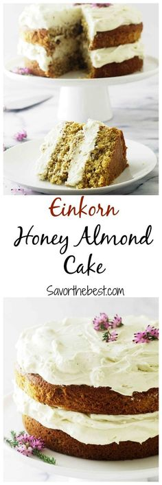 Our einkorn honey almond cake is adense moist cake with pronounced flavors of honey and almonds and topped with a heavenly mascarpone honey frosting.