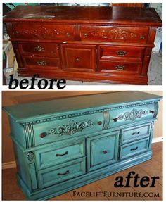 Ornate Dresser in Turquoise Before & After - Facelift Furniture DIY blog