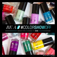 Ladies, you only have one more day to #colorshowoff! Share your nail trend #entry NOW for a chance to win the entire Color Show collection.    Official Rules: www.maybelline.com/colorshowoff