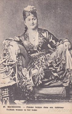 Turkish woman from Macedonia in her beautiful traditional costume of Ottoman Empire, 1880s.