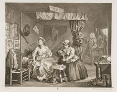 This is the third in a series of six engravings, called A Harlot's Progress. William Hogarth experimented with modern moral subjects, satirizing the world and society in which he lived. He creates these wonderful storylines that capture the life and times of the often unfortunate individual. In this engraving, our hero Moll Hackabout has become a common prostitute, with her syphilis-infected nurse tending to her. Hogarth parodies the Annunciation.