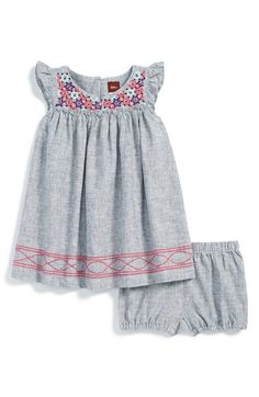 Tea Collection 'Basaka' Embroidered Dress & Bloomers (Baby Girls) | Nordstrom