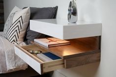 Diy floating bedside tableDiy floating bedside tableYour marketplace to buy and sell people on hand.Size is: 29 H x 7 W x 10 D shelf WX D) The floating bedside table design Bedside Table Design, Modern Bedside Table, Floating Nightstand, Bedside Tables, Bedroom Furniture, Modern Furniture, Furniture Design, Bedroom Decor, Bedroom Sets