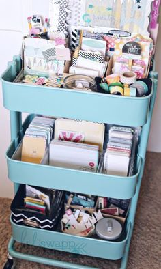 DIY Craft Room Storage Ideas and Craft Room Organization Projects - Repurpose IKEA Cart As Craft Storage - Cool Ideas for Do It Yourself Craft Storage, Craft Room Decor and Organizing Project Ideas - fabric, paper, pens, creative tools, crafts supplies, shelves and sewing notions http://diyjoy.com/diy-craft-room-storage