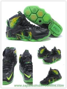 sites de lojas de tenis 684593-608 Preto/Grass-Verde Nike Lebron 12 EP