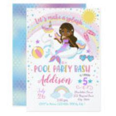 Unicorn And Mermaid Birthday Invitations