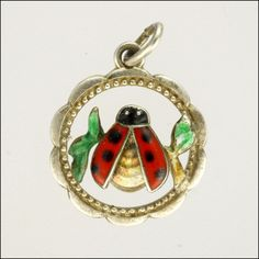 Art Deco Silver Enamel Lady Bug Charm