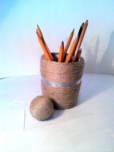 Your pencils is now save :) Buy on-line: http://pl.dawanda.com/product/52954247-Przybornik-jutowy-Papier-Mache