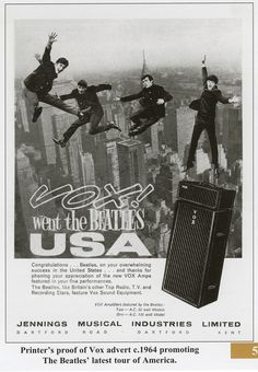 The Beatles, like Britain's other Top Radio, T.V. and Recording Stars, feature Vox recording equipment.