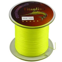 Titanline Super High Grade Fiber PE Briad Braided Fishing Line Yellow 40LB 300M Meters * Read more reviews of the product by visiting the link on the image.