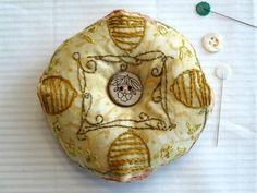 Bee Skep Biscornu Pincushion Hand Embroidery Finished Needlework