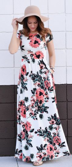 #spring #outfits  Beige Hat + White Floral Maxi Dress