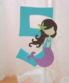 How cute would this be for a Mermaid themed girl's party as either a center piece or a cake topper. Mermaid Party Centerpiece or Cake Topper by jkdesigns2009 on Etsy, $6.00