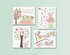 Baby Girl Room Ideas: Nursery wall Art Print For Girls, Baby Girl Room Decor / Love Bird Turtle Elephant // Set of 4 8x10// Hayley Bedding on Etsy, $65.00