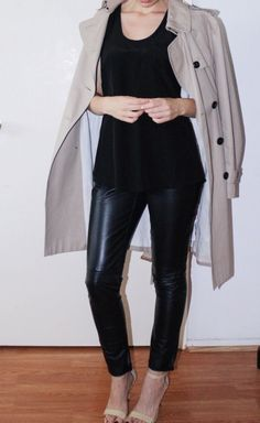 leather pants and a tan trench make this perfect LA winter look