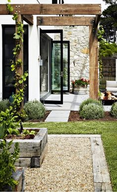 White, black and stone. Also love the pea gravel and raised railway-sleeper veggie garden boxes! White, black and stone. Also love the pea gravel and raised railway-sleeper veggie garden boxes! Small Backyard Gardens, Backyard Landscaping, Outdoor Gardens, Raised Gardens, Veggie Gardens, Vegetable Gardening, Railway Ties Landscaping, Landscaping Ideas, Container Gardening