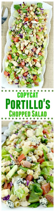Portillo's Chopped Salad-this is a copycat recipe just like the delicious restaurant version. Loaded with great veggies, lots of goodies and dressed in a sweet Italian dressing, Portillo's Chopped Salad-(With Video!) A Copycat Recipe Of The BEST Sa Copycat Recipes, New Recipes, Favorite Recipes, Healthy Recipes, Avocado Recipes, Cake Recipes, Fondant Recipes, Frosting Recipes, Sauces