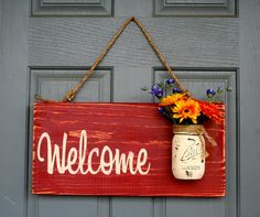 Rustic Outdoor Red Welcome Outdoor Welcome Sign by RedRoanSigns