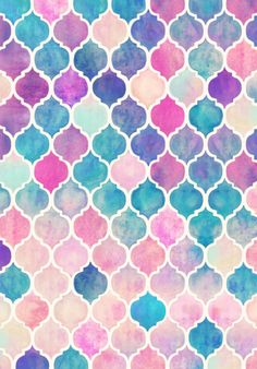Rainbow Pastel Watercolor Moroccan pattern by Micklyn Le Feuvre on Spoonflower