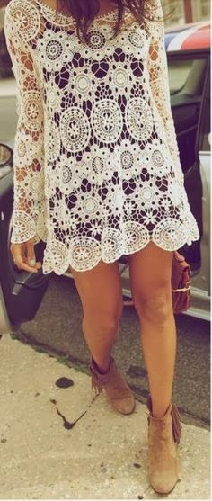 Sexy white crochet boho chic tunic mini dress with modern hippie fringe suede boots. For the BEST gypsy style Bohemian fashion  jewelry trends for 2014 FOLLOW http://www.pinterest.com/happygolicky/the-best-boho-chic-fashion-bohemian-jewelry-gypsy-/