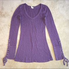 Sharing!! Free People purple lace-up cuff Free People nubby purple lace-up cuff thermal. Free People Tops