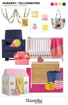 Shop Festive Felt Bright Garland, You Are My Sunshine Poster Decal, Leaping Alpaca Poster Decal, Baggu Diaper Bag (White), Luca Glider, Good Morning Throw Pillow, Triangle Throw Pillow, Carousel Crib (Blush), Flower Show Crib Bedding, Executive Pet Nod Chair (Owl), Suzy's Playhouse, Larkin 3-Drawer Dresser (Pink), Strapping Floor Bin, Stripes Around the Cube Bin, Ink Spot Rug (Pink) and more